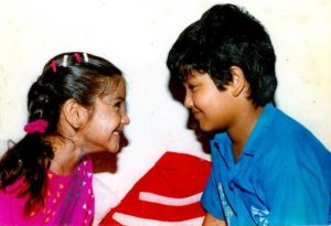 Young Anushka Sharma with her brother