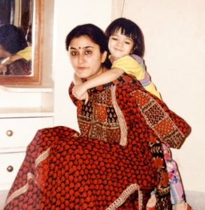 Young Kriti Sanon with her mother